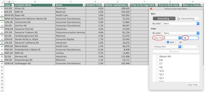 Dax Index Stocks Excel Tutorial 2