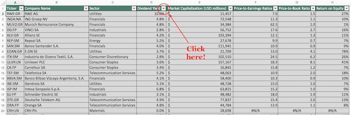 Euro Stoxx 50 Excel Tutorial 1