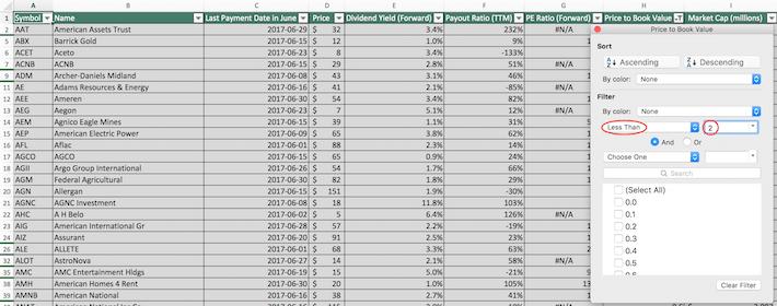 June Dividend Stocks Excel Tutorial 7