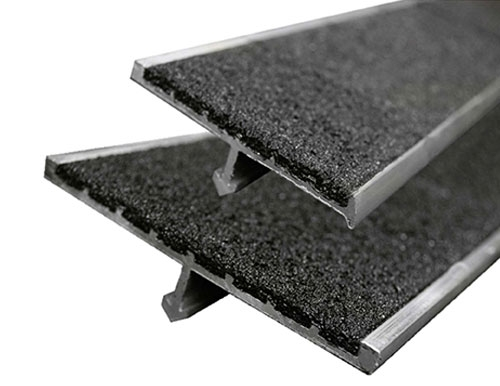 Anti Slip Concrete Stair Nosing Anchor Systems | Concrete Filled Metal Pan Stairs | Staircase | Wood | Edge | 5 Flight | Detail