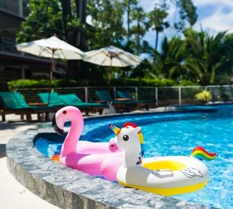 Flamingo and Unicorn Floaties in Pool