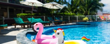 Flamingo and Unicorn Floaties in Pool