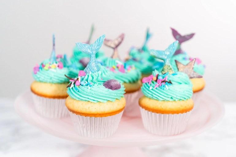 mermaid inspired birthday cupcakes