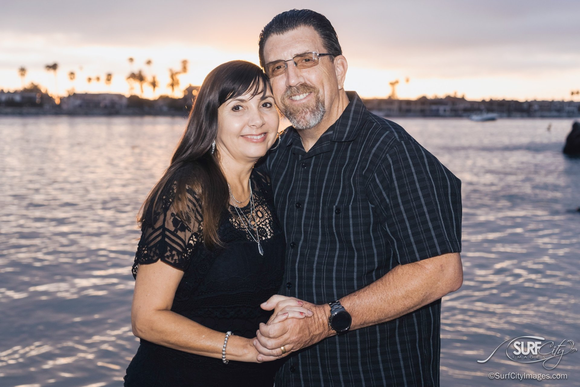 Sunset anniversary portraits at Corona Del Mar Beach