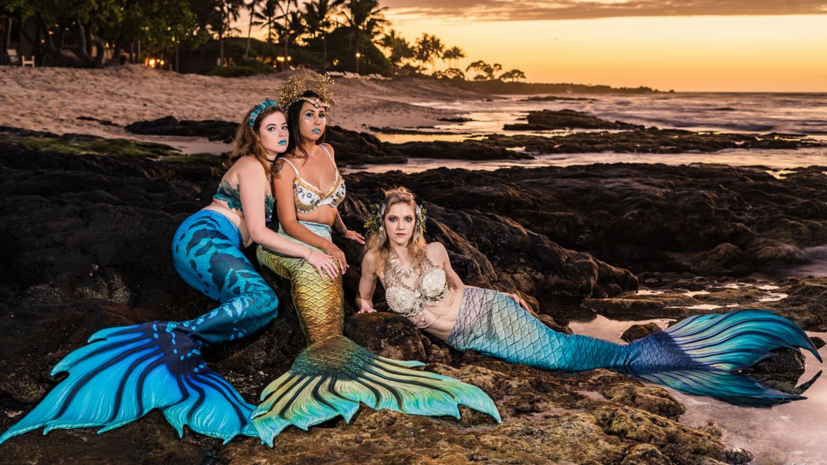 Hawaiian Mermaids at Sunset