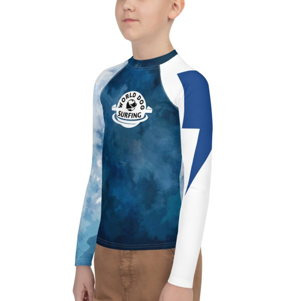 World Dog Surfing Blue on White Youth Rash Guard