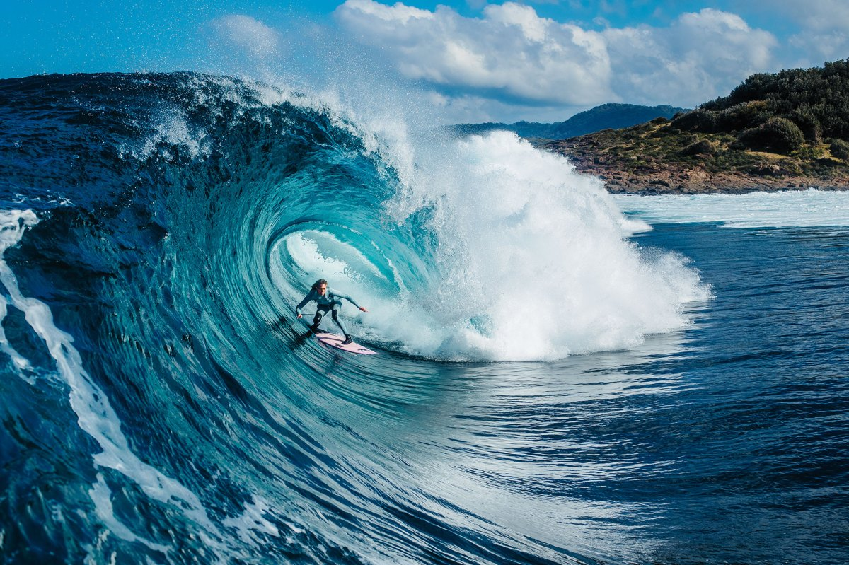 """Laura Enever has had a busy year chasing down the world's most terrifying waves for her soon-to-be-released movie """"Undone"""". Here she's seen in the belly of a beast somewhere along the coast of New South Wales."""
