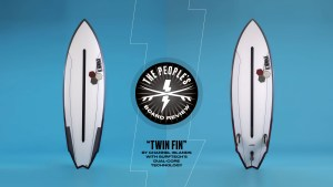 """""""Twin Fin"""" by Channel Islands with Surftech's Dual-Core Technology."""