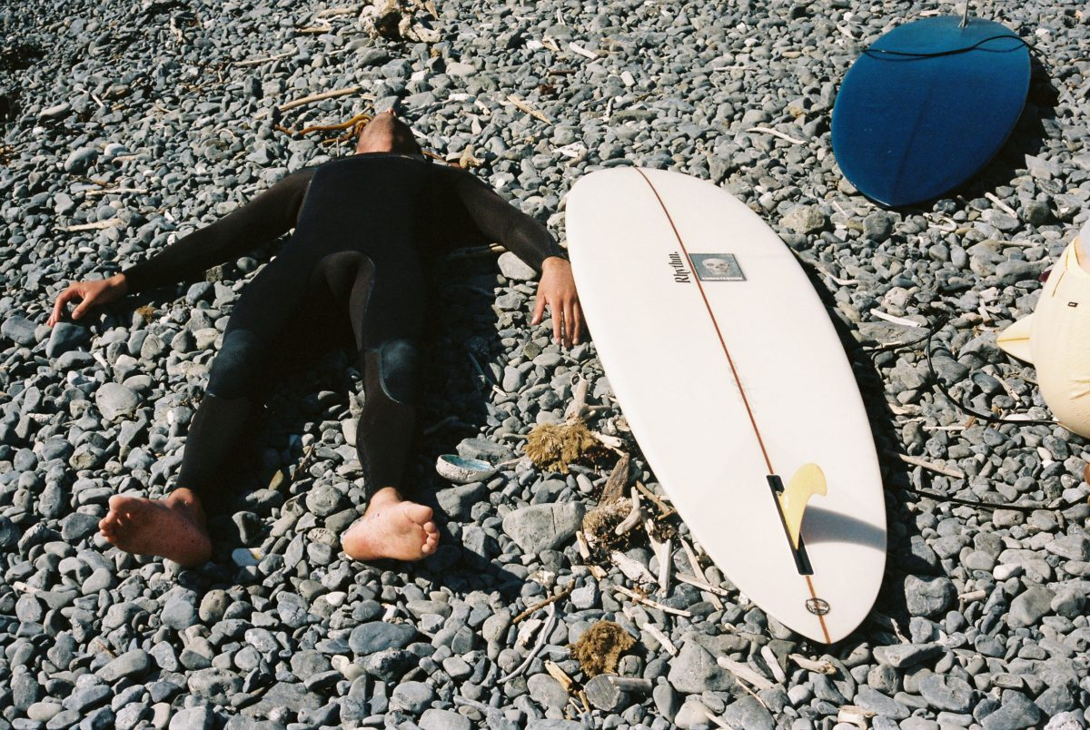 """Josh Daniel feeling the effects of surfing all day, for multiple days in a row."""
