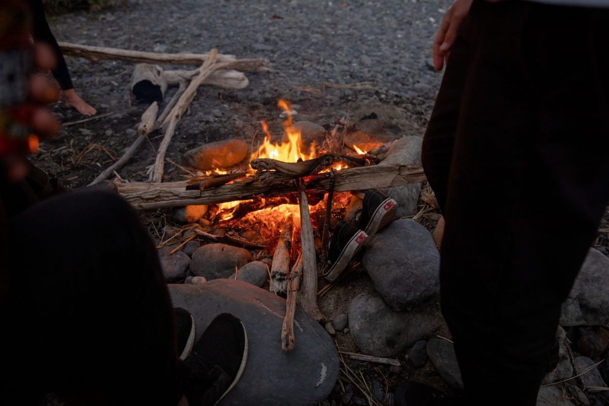 """We ended most days like this,"" says BenBen. ""On the beach with a small fire to warm everything up."""