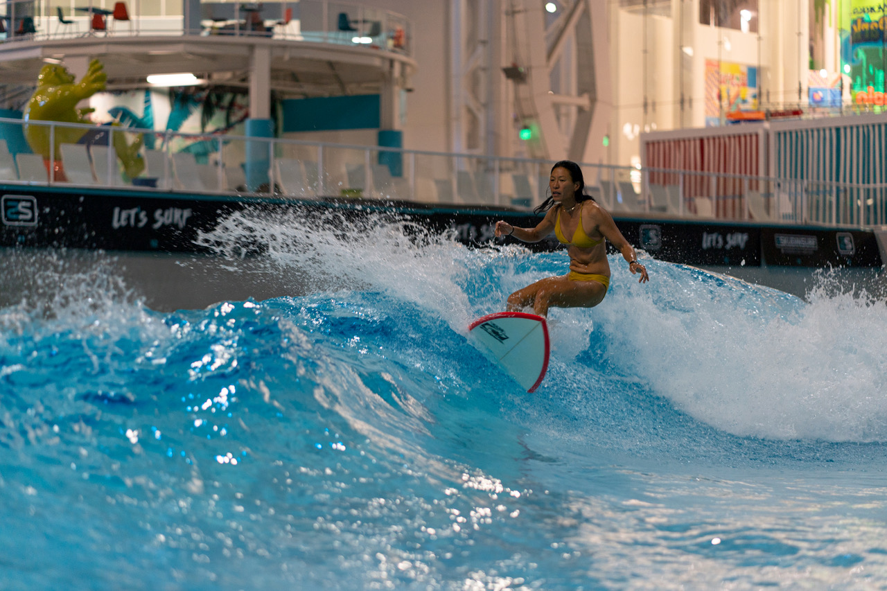 Surfing to a soundtrack inside a mall is definitely a unique experience.