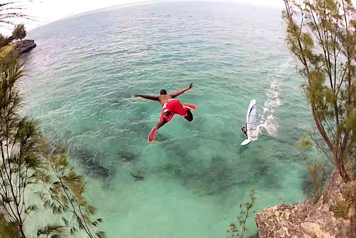 A dive into the windsurfer: don't try this at your home spot