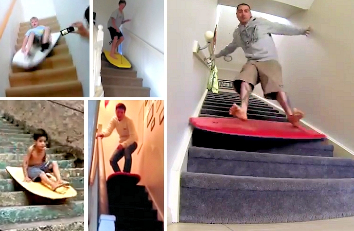Staircase bodyboarding: no reefs, just concrete walls