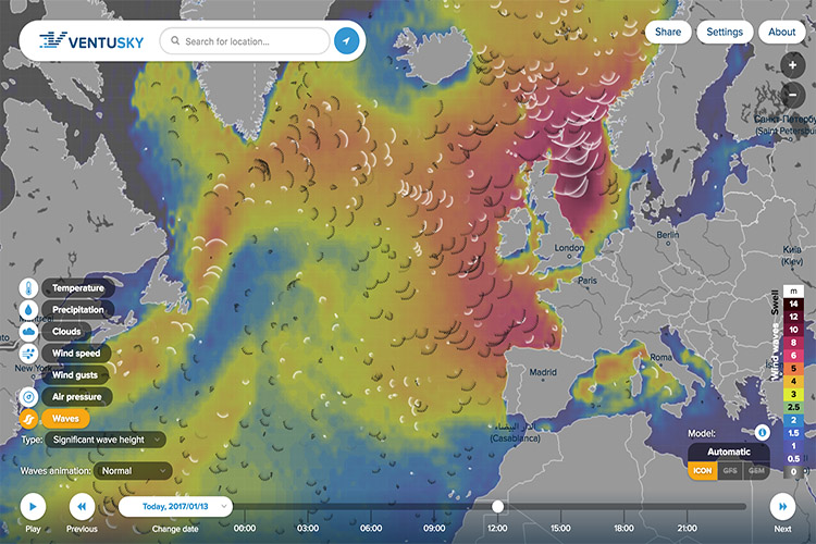 Online weather map Ventusky adds wave propagation simulation