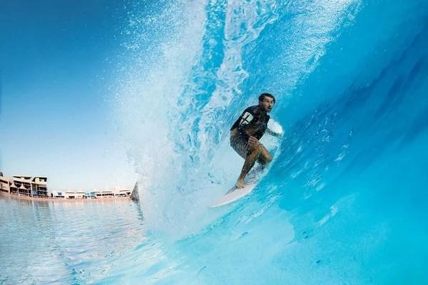 Dion Agius Electric Blue Heaven Surf Park Barrel