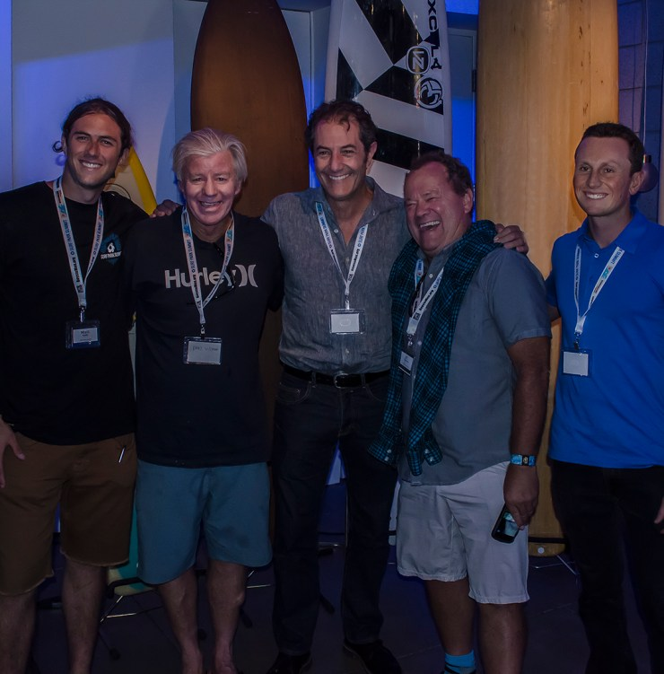 Champions of the Surf meet Champions of the Summit... left to right: Matt Reilly, Wayne 'Rabbit' Bartholemew, Shaun Thomson, PT Townend, John Luff