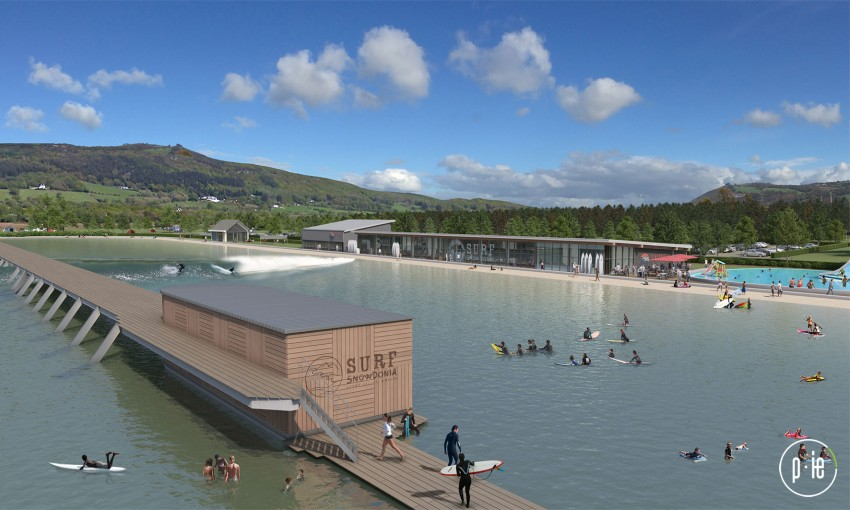 Architectural rendering of the Surf Snowdonia Wavegarden venue set to open in July 2015