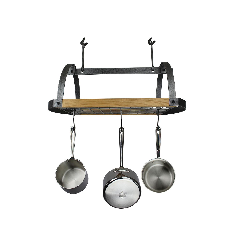 enclume hammered steel alder wood signature oval ceiling pot rack