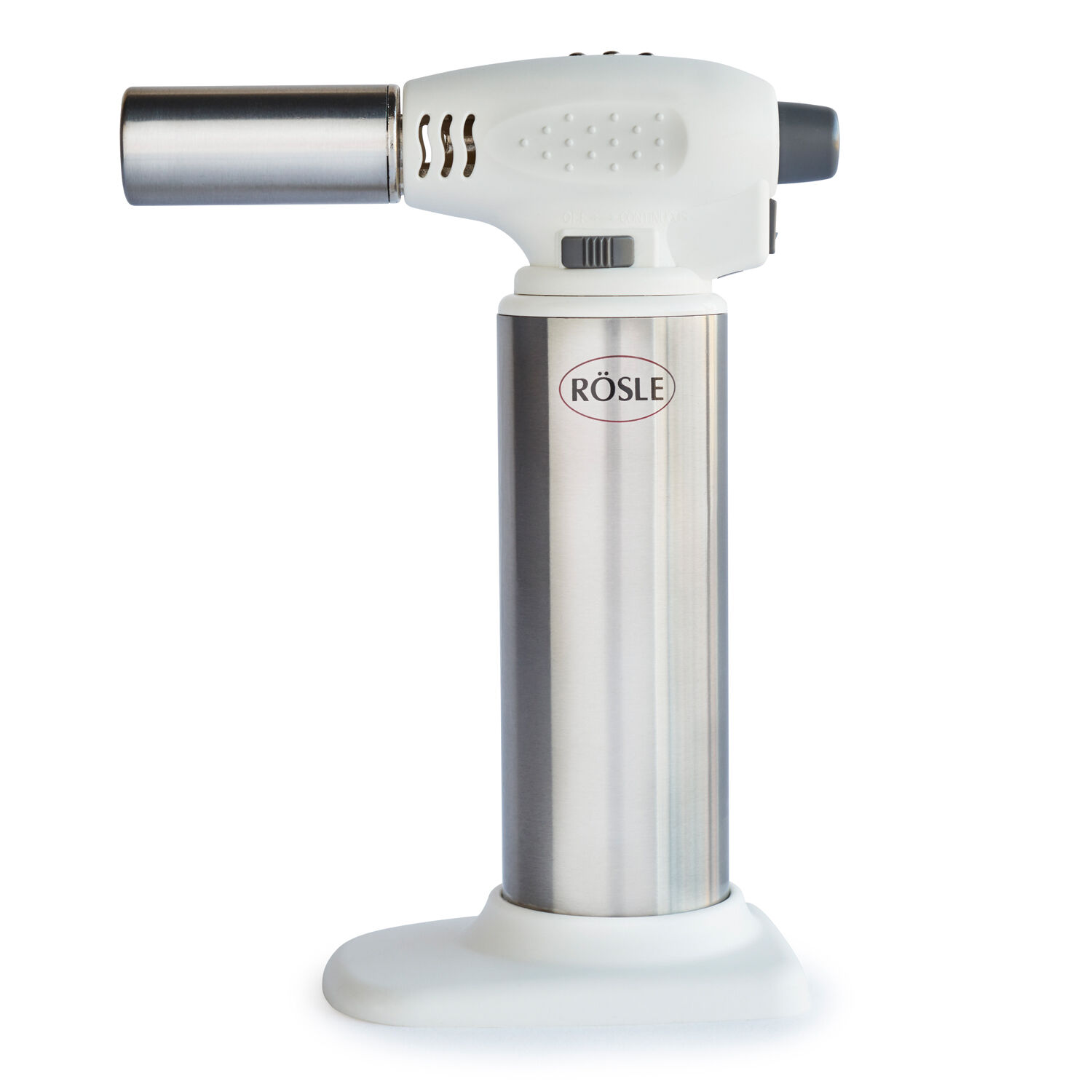 Ideal for caramelizing crème brulee or quick roasting peppers, this kitchen torch regulates flame size with an adjustable gas dial. Rösle Kitchen Torch   Sur La Table
