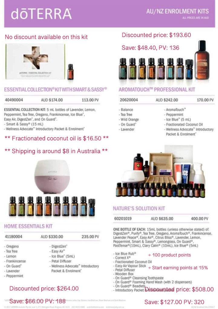 Discounted doTERRA enrolment kits with Melanie Surplice =