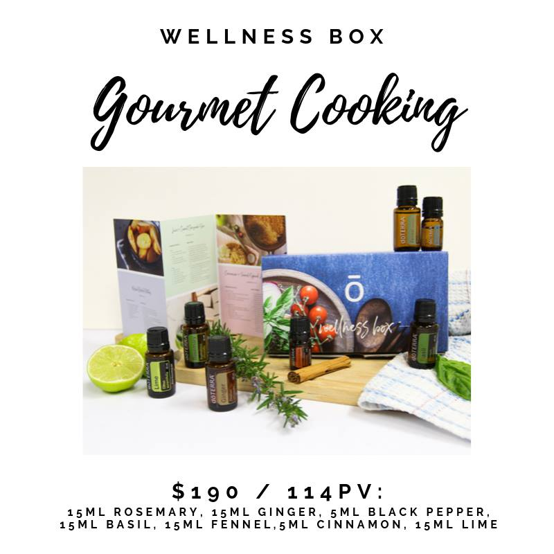 The doTERRA Gourmet Cooking Enrolment Kit is idea for anyone who loves experimenting with food and cooking with rich natural flavours.