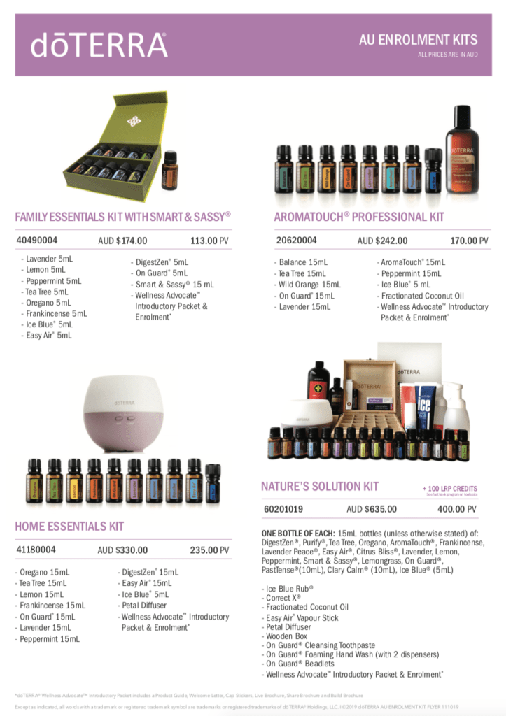 doTERRA Australia New Zealand Enrolment Kits from Melanie Surplice