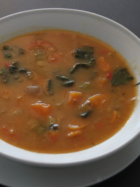 soup of sweet potatoes and lentils