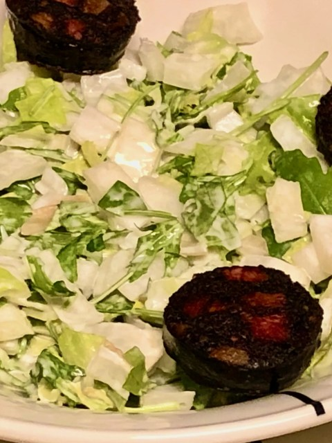 Belgian endives and arugula salad with blood sausage