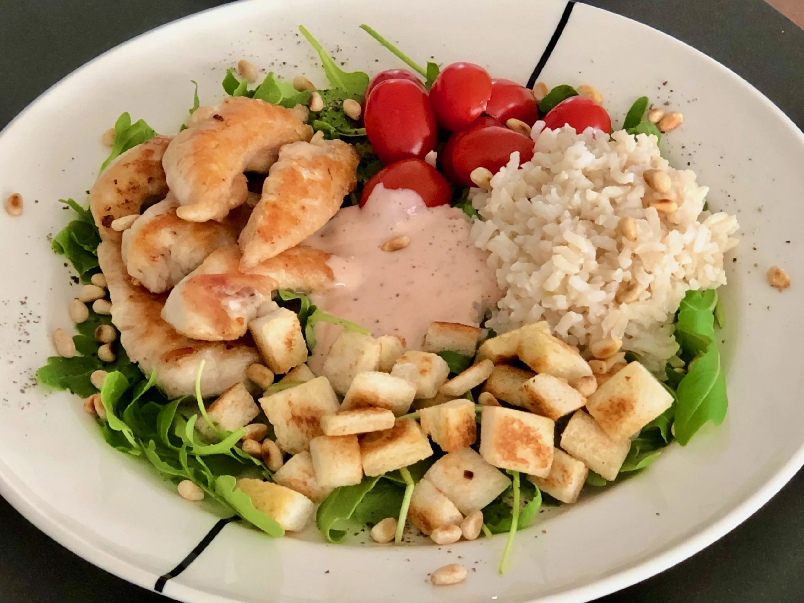 cold and light lunch for hot summer days with chicken and croutons