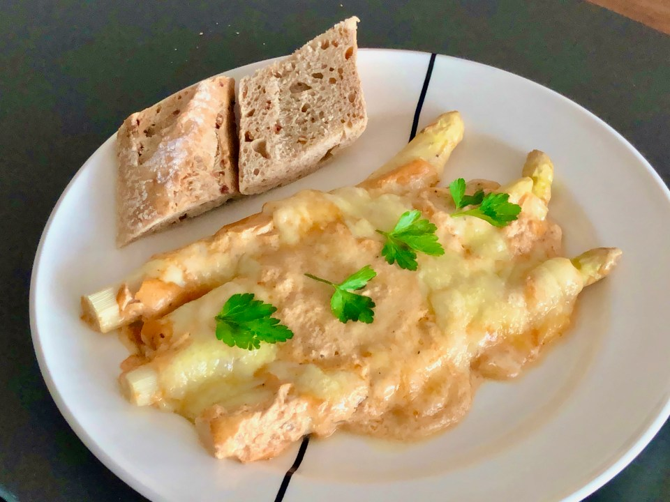 grated asparagus in Swiss mountain cheese
