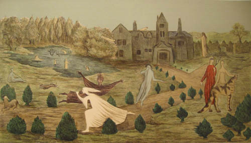 Leonora Carrington - Crookhey Hall - state II - 1987 color lithograph