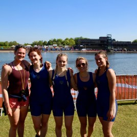 Women's beginner 4+ with coach Iona Riley at BUCS Regatta 2018