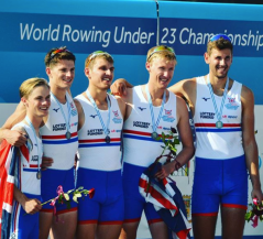 George Stewart collecting his silver medal at the U23 World Championships