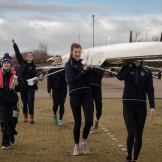 Women's beginner 4+ 'A' boating for their first race