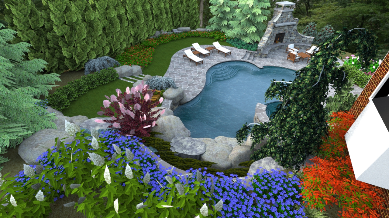 "A ""Right-Sized"" Swimming Pool Design In Herndon Virginia ... on Backyard Pool Landscape Designs id=23076"