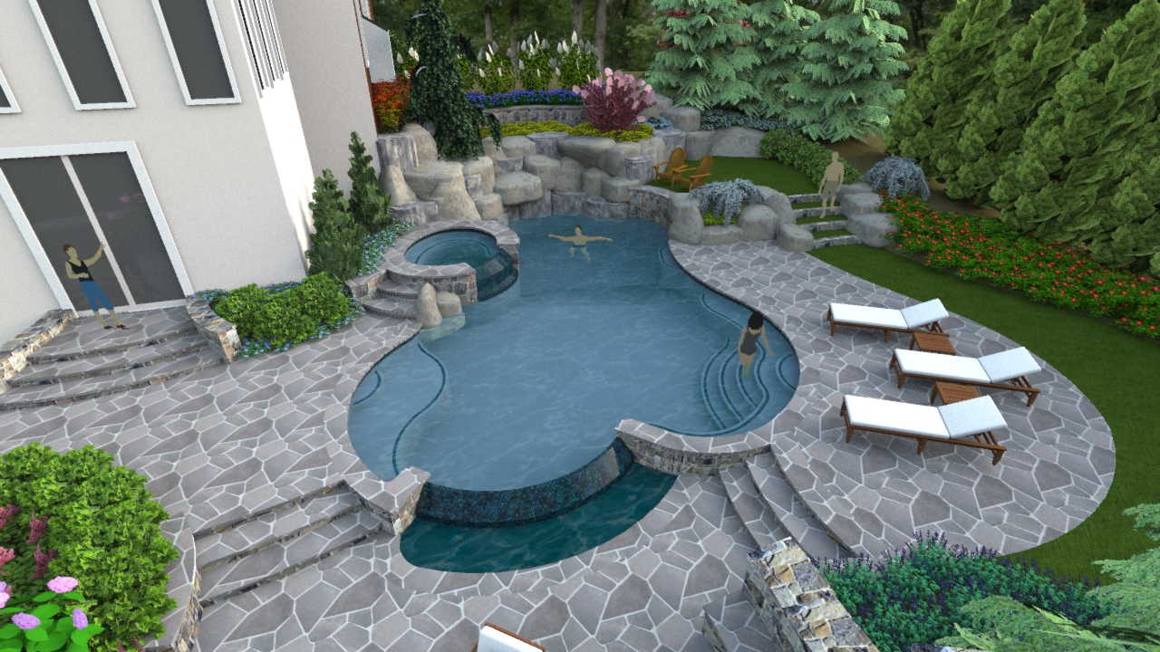 """A """"Right-Sized"""" Swimming Pool Design In Herndon Virginia ... on Pool Patio Design id=71813"""