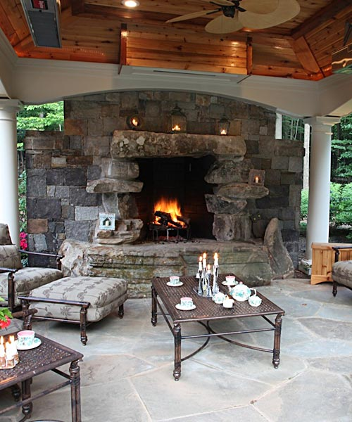 Outdoor Fireplaces & Fire Pits In McLean & Great Falls VA ... on Covered Outdoor Kitchen With Fireplace id=21941
