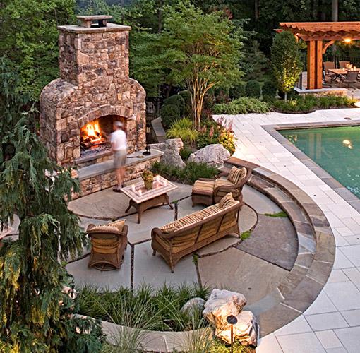 paver patio designs with fireplace McLean Virginia Landscape Patio Design, Retaining Walls