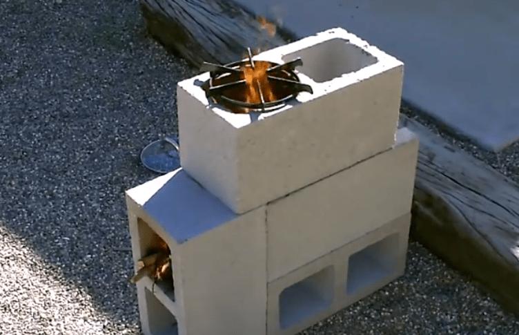 "The ""4 Block"" Rocket Stove! - DIY Rocket Stove - (Concrete ... on Simple Cinder Block Fireplace id=52443"