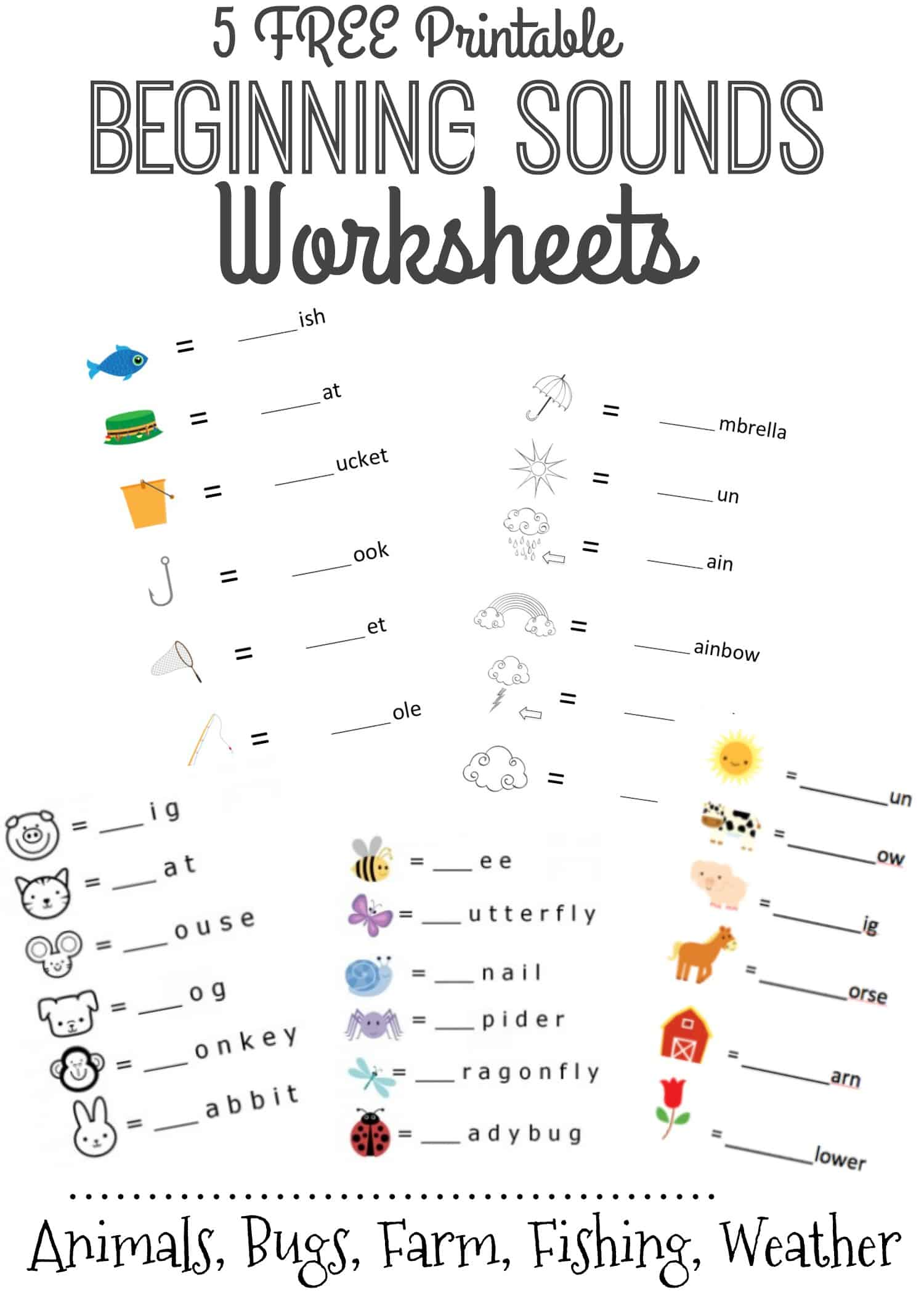Beginning Sounds Letter Worksheets For Early Learners