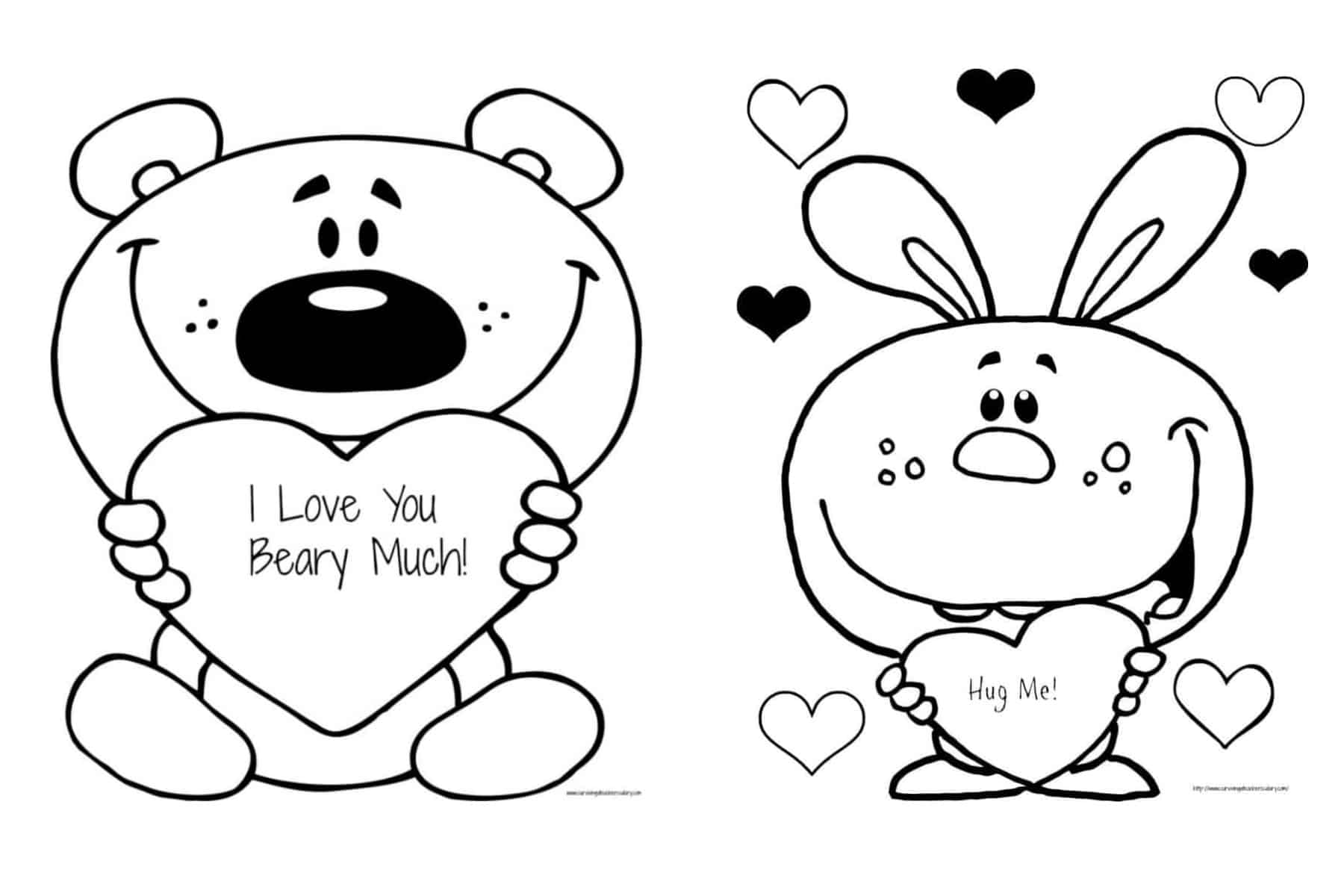 Free Valentine S I Love You Beary Much Coloring Page