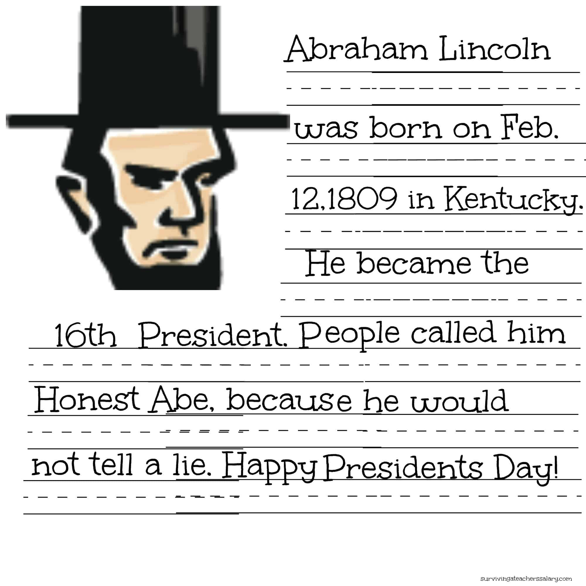 President Lincoln Handwriting Practice Sheet Printable