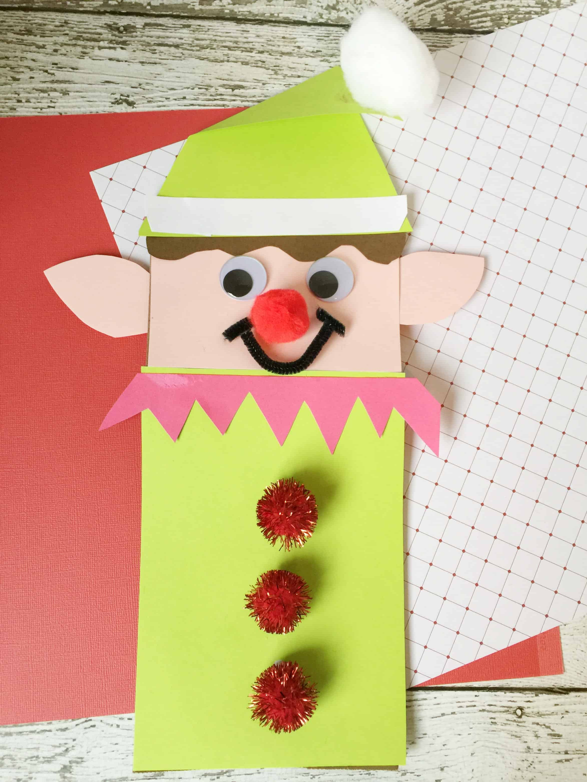 Christmas Elf Brown Paper Bag Craft For Kids