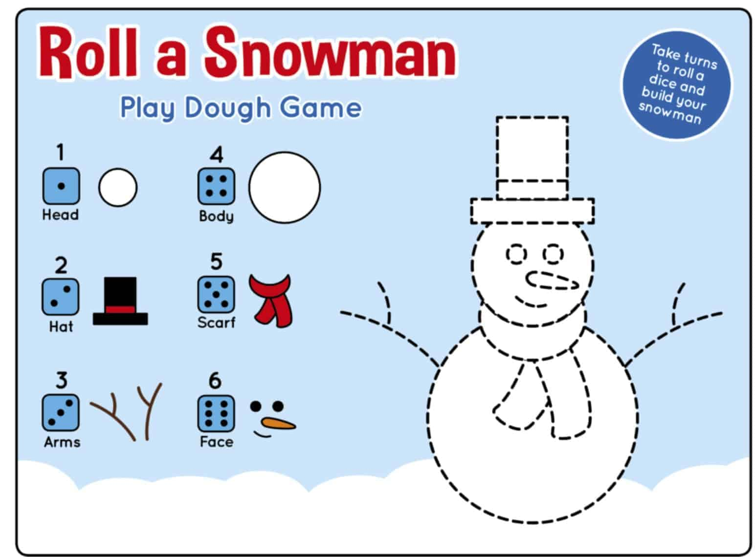 Winter Roll A Snowman Printable Play Dough Mat Game