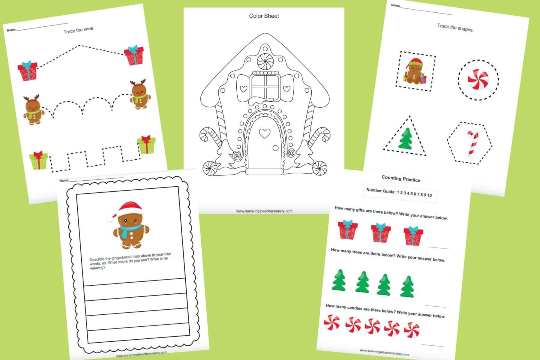 Free Gingerbread Preschool Printable Worksheet Set