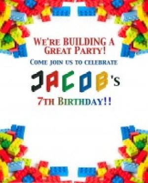 invitation lego multicolore