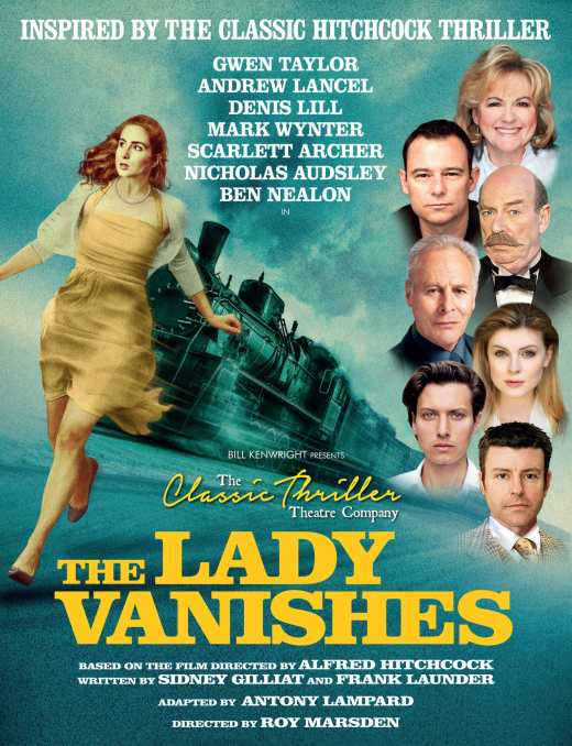 Poster for the 2019 national theatre tour of The Lady Vanishes, which features Survivors actor Denis Lill in the cast