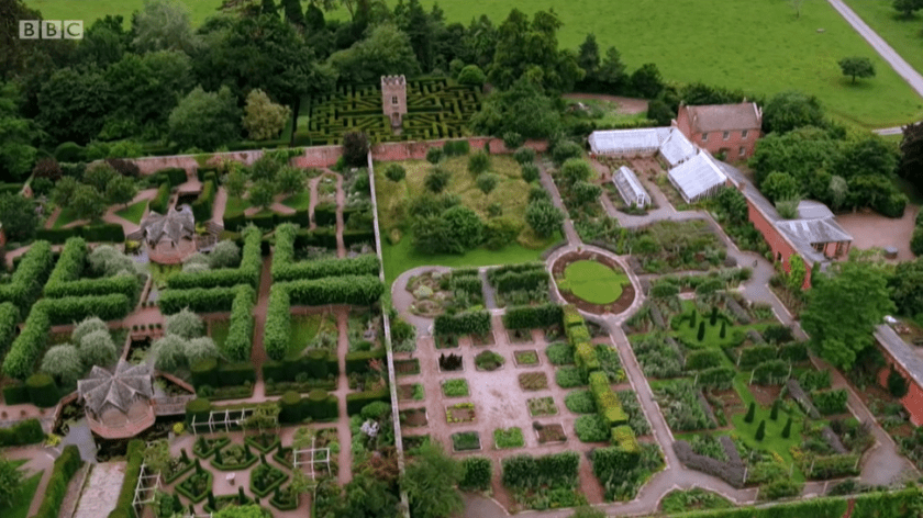 Hampton Court on Antiques Roadtrip (S21, E17) - the house and garden from the air - shot one