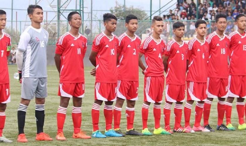 एएफसी यु–१९ छनोटमा नेपाल भारतसँग खेल्दै