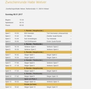 Spielplan Warsteiner Masters Zwischenrunde in Welver am 08.01.17